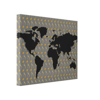 音楽テーマの世界地図 キャンバスプリント