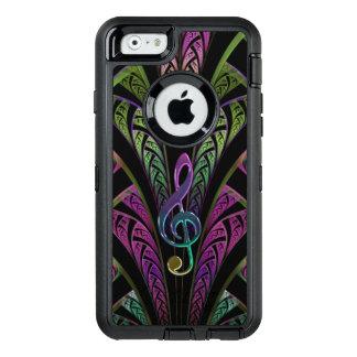 音楽ト音記号の紫色および緑のフラクタルのiPhone オッターボックスディフェンダーiPhoneケース