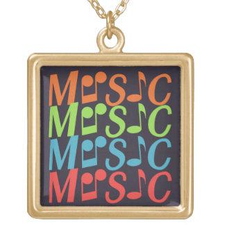 音楽ネックレス ゴールドプレートネックレス