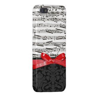 音楽ノートおよび模造ので赤いリボン iPhone 5 COVER