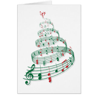 音楽ノートが付いているクリスマスツリー グリーティングカード