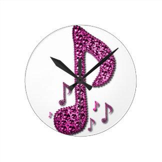 音楽ノートのアクリルの柱時計 ラウンド壁時計