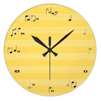 音楽ノートのタイムレコーダー-黄色 ラージ壁時計