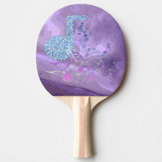 音楽ノートの抽象芸術のピンクのPongの紫色かい 卓球ラケット