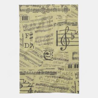 音楽ノートパターン音楽テーマの台所タオル キッチンタオル