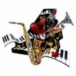 音楽ピアノサクソフォーンのトランペット3Dの芸術の彫刻 フォトの切り取り