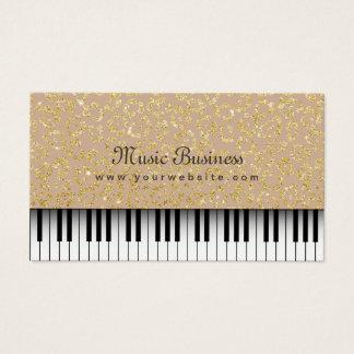 音楽ピアノ鍵の金ゴールドのヒョウのプリントのミュージカル 名刺
