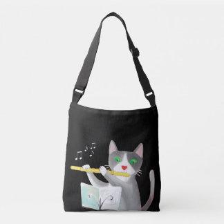 音楽フルート奏者猫の芸術のバッグ クロスボディバッグ