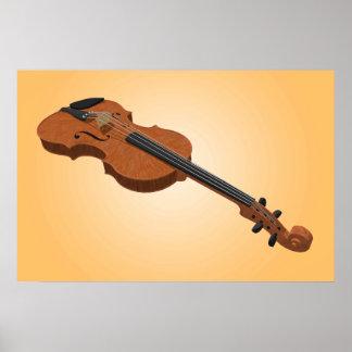 音楽ポスター: バイオリン3Dモデル ポスター
