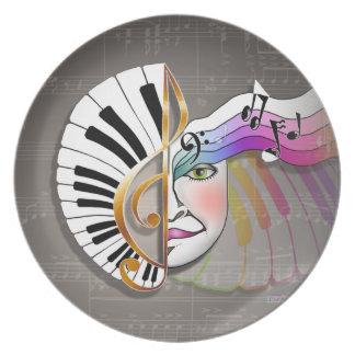 音楽マスクのピアノプレート お皿
