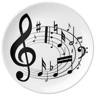 音楽及び夕食 磁器プレート