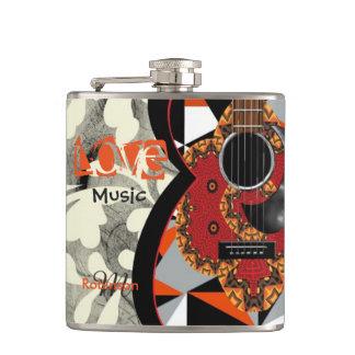 音楽愛好者のファンキーなオレンジパターン(の模様が)あるなギターのデザイン フラスク