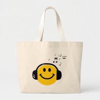 音楽愛情のあるスマイリー ラージトートバッグ