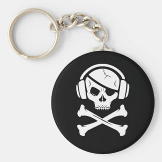 音楽海賊海賊行為のアンチriaaのロゴ ベーシック丸型缶キーホルダー