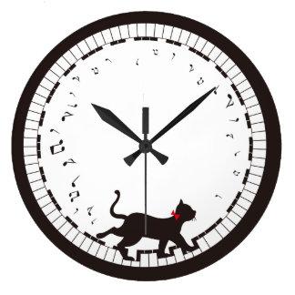 音楽猫 ラージ壁時計