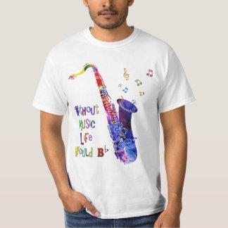 音楽生命なしでB平らな|のサクソフォーンのTシャツ Tシャツ