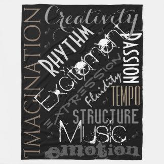 音楽的なインスピレーション、黒、白く総括的なコラージュ フリースブランケット