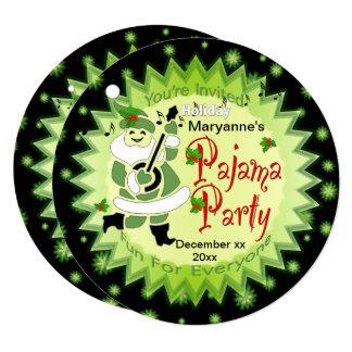 音楽的なサンタの小妖精や小人のパジャマ・パーティーのカスタムの招待状 カード