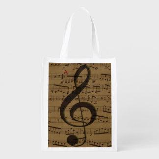 音楽的なト音記号の楽譜 エコバッグ