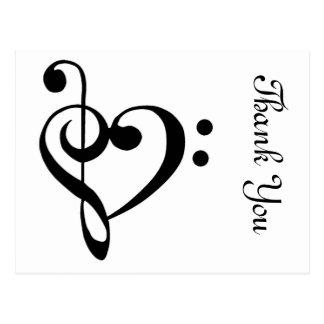 音楽的なハートありがとう 葉書き