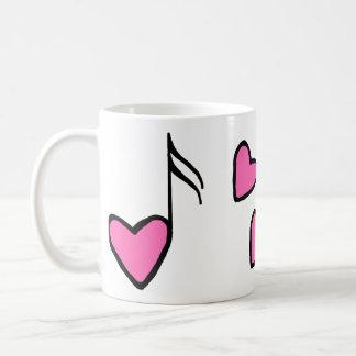 音楽的なハートのノート コーヒーマグカップ