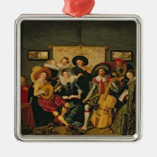 音楽的なパーティー、c.1625 メタルオーナメント