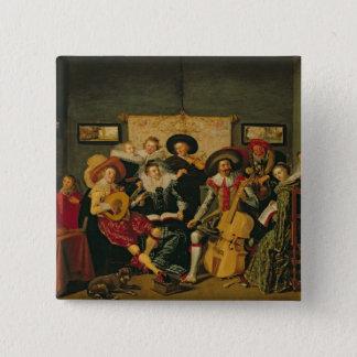 音楽的なパーティー、c.1625 5.1cm 正方形バッジ