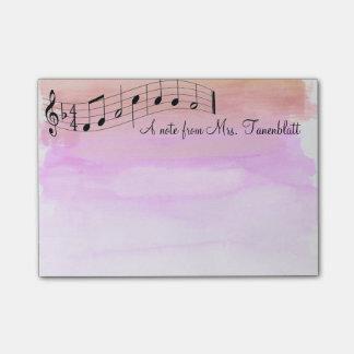 音楽的なメモ帳の水彩画 ポストイット