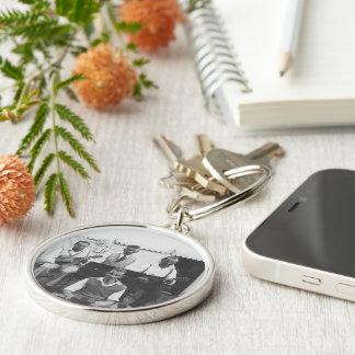 音楽的な休日の白黒優れた円形のKeychain キーホルダー