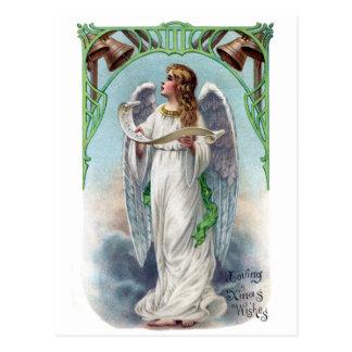 音楽的な天使および鐘のヴィンテージのクリスマス ポストカード