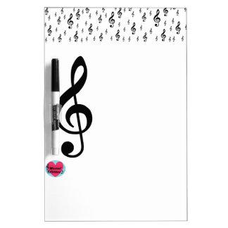 音楽的な寿命のト音記号のホワイトボード ホワイトボード