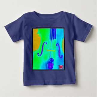 音楽的な寿命の子供の緑のチェロ音楽Tシャツ ベビーTシャツ