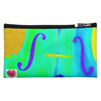音楽的な寿命の緑のチェロの化粧品のバッグ コスメティックバッグ