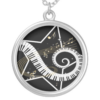 音楽的な星の金ノート シルバープレートネックレス