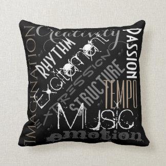 音楽的な表現の黒、白いそして灰色の枕 クッション