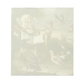音楽的な鳥の絵を描くことの群 ノートパッド