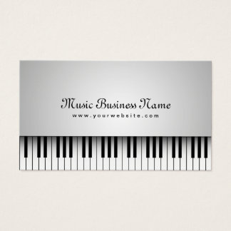 音楽美しく白いグランドピアノ 名刺