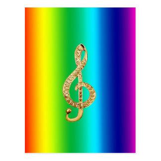 音楽記号のスタッフのGクレフ、音符記号 ポストカード