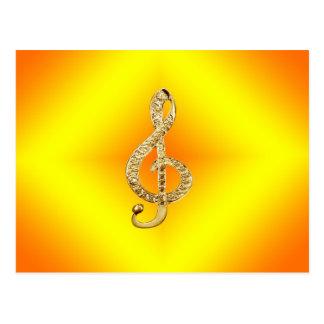 音楽記号のGクレフ、音符記号 ポストカード