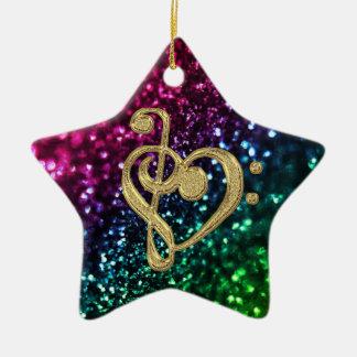音楽記号を用いる光っている着色された星 セラミックオーナメント