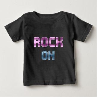音楽赤ん坊のTシャツのネオンライトの石 ベビーTシャツ