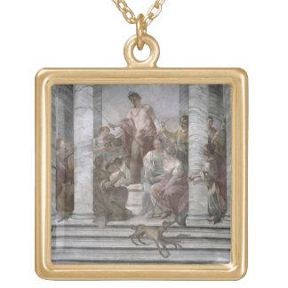 音楽部屋(フレスコ画) (および詳細60260) ゴールドプレートネックレス