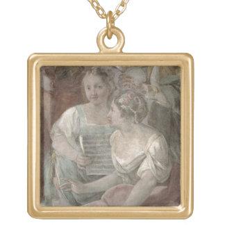 音楽部屋(フレスコ画) (60259の詳細) ゴールドプレートネックレス