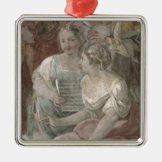 音楽部屋(フレスコ画) (60259の詳細) シルバーカラー正方形オーナメント