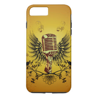 音楽、翼が付いているマイクロフォン iPhone 8 PLUS/7 PLUSケース