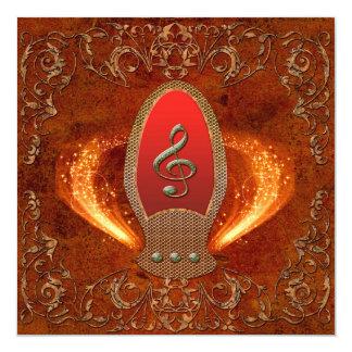 音楽、花の要素が付いているダイヤモンドから成っているクレフ、音符記号 カード
