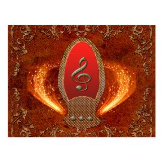 音楽、花の要素が付いているダイヤモンドから成っているクレフ、音符記号 ポストカード