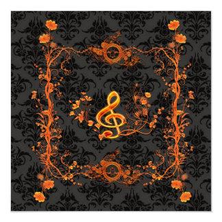 音楽、装飾的なクレフ、音符記号 カード
