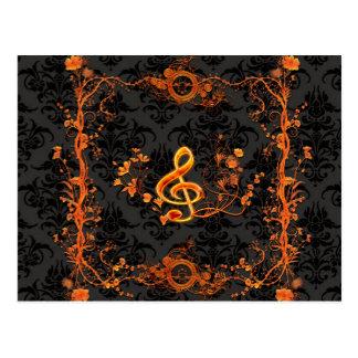 音楽、装飾的なクレフ、音符記号 ポストカード