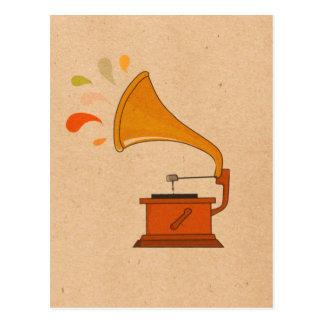 音楽spashesが付いているヴィンテージの蓄音機 ポストカード